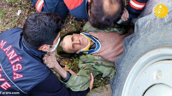 (تصاویر) واژگونی تراکتور روی پیرمرد 81 ساله