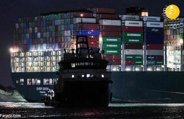 (تصاویر) حرکت کشتی باربری که کانال سوئز را مسدود نموده بود